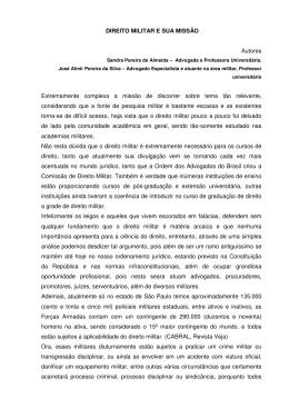 DIREITO MILITAR E SUA MISSÃO Autores Extremamente complexa