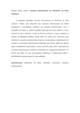 Ricardo Mota Santos. Assuntos Internacionais do - PUC-SP