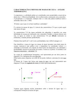 CARACTERIZAÇÃO E MISTURA DE MASSAS DE ÁGUA