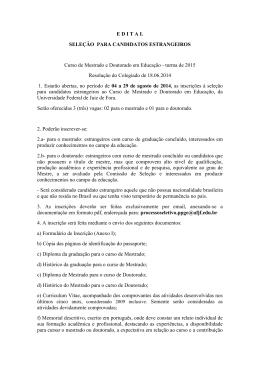 EDITAL SELEÇÃO PARA CANDIDATOS ESTRANGEIROS