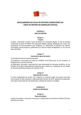 Regulamento do Mestrado em Animação Digital