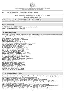 RELATÓRIO DE CORREIÇÃO Ordinária Geral Comarca de Içara