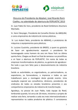 Discurso do Presidente da Abiplast, José Ricardo Roriz Coelho, na