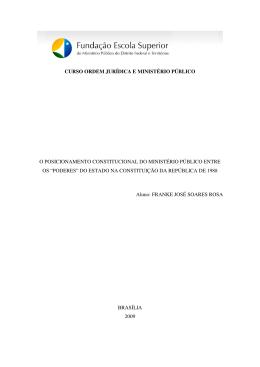 CURSO ORDEM JURÍDICA E MINISTÉRIO PÚBLICO O