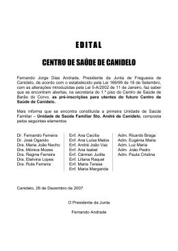 EDITAL CENTRO DE SAÚDE DE CANIDELO