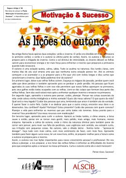 As lições do outono Motivação & Sucesso Por Luiz Marins