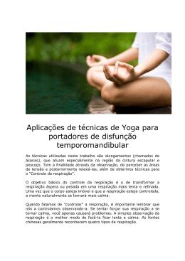 Aplicações de técnicas de Yoga para portadores de