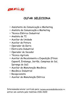 OLFAR SELECIONA