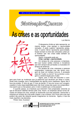 As crises e as oportunidades