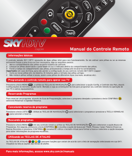 Manual do controle remoto SKY hdtv zapper