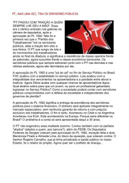 PT, MAIS UMA VEZ, TRAI OS SERVIDORES - Sindifisco-MG
