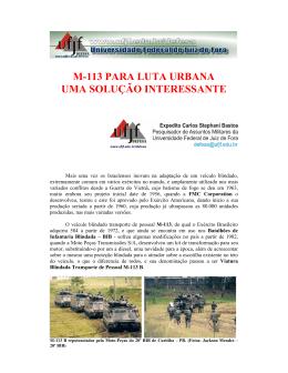 M-113 PARA LUTA URBANA UMA SOLUÇÃO INTERESSANTE