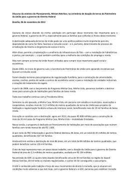 Doação de terras do Patrimônio da União para o governo do DF