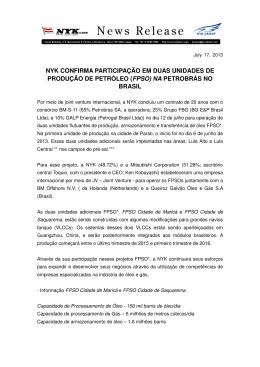 Participação da NYK em 2 unidades FPSO na Petrobrás no Brasil