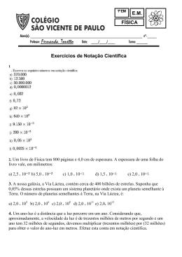 Exercícios de Notação Científica – 9º ano