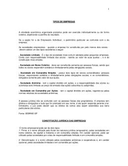 Tipos de Empresas - Lopes & Gazzani Planejamento Ltda