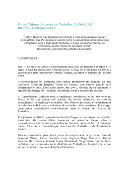 A criação da CLT - Federação Nacional dos Assistentes Sociais