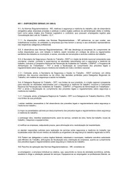 NR 01. Disposições Gerais