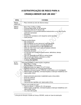 Oficina 3-Estratificacao de Risco – CRIANCA MENOR QUE 1 ANO