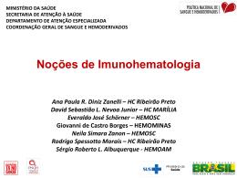 NOÇÕES BÁSICAS DE IMUNOHEMATOLOGIA