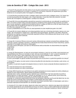 Lista de Genética 2º EM – Colégio São José
