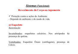 Sistemas Funcionais Revestimento do Corpo ou tegumento a