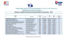 Cursos Lato Sensu 2º Semestre - FCAP