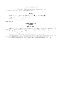 PROJETO DE LEI Nº 175/06 Concede Título de Cidadão Espírito