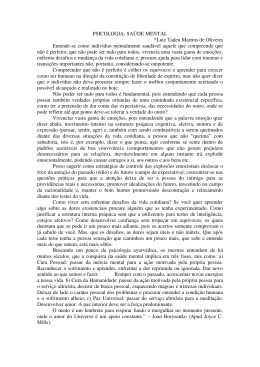 PSICOLOGIA: SAÚDE MENTAL *Luiz Tadeu Martins de Oliveira