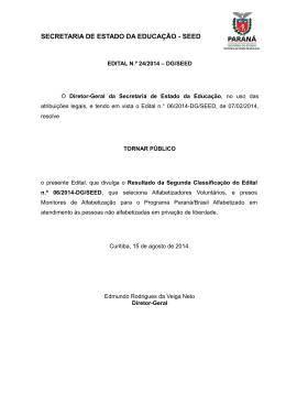 Edital nº 24/2014 – DG/Seed - Secretaria de Estado da Educação