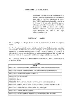 PROJETO DE LEI Nº 863, DE 2015. Altera a Lei nº 12.546, de 14 de