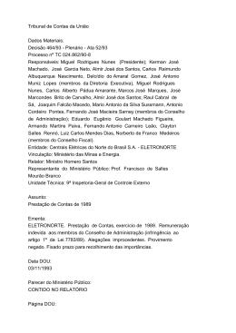 Tribunal de Contas da União Dados Materiais: Decisão 464/93