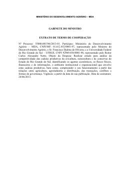 Extrato Termo Cooperação UFRGS - Ministério do Desenvolvimento