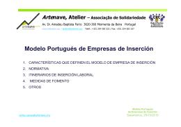 Modelo Portugués de Empresas de Inserción Modelo Portugués de