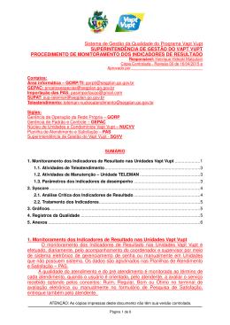 Sistema de Gestão da Qualidade do Programa Vapt Vupt