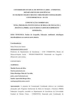 comunicação coordenada - Universidade Estadual de Montes Claros