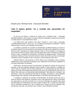 Eleições para o Montepio Geral Associação Mutualista