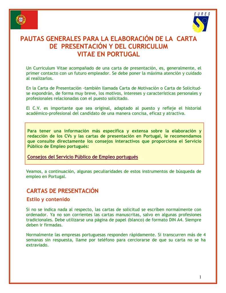 CV y carta de presentación para Portugal