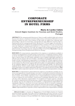 CORPORATE ENTREPRENEURSHIP IN HOTEL FIRMS
