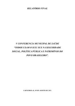RELATÓRIO FINAL V CONFERENCIA MUNICIPAL DE SAÚDE
