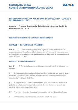 Regimento Interno do Comitê de Remuneração