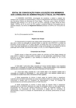 EDITAL DE CONVOCAÇÃO PARA A ELEIÇÃO DOS