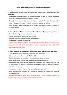 NORMAS DE ADMISSÃO OU DE PROGRESSÃO NA SBACV 1