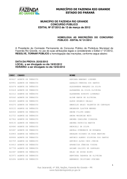MUNICÍPIO DE FAZENDA RIO GRANDE ESTADO DO
