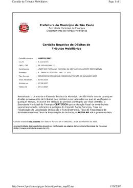 Prefeitura do Município de São Paulo Certidão Negativa de Débitos