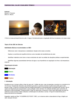TEMPERATURA, CALOR E EQUILIBRIO TÉRMICO Autores: Arjuna
