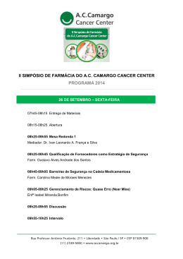 ii simpósio de farmácia do ac camargo cancer center programa 2014
