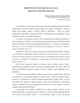 PROSTITUIÇÃO EM FEIRA DE SANTANA DURANTE O