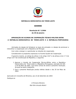 Aprovado em Conselho de Ministros, aos 15 de Setembro de 2003