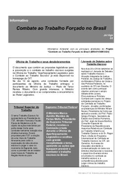 Informativo Combate ao Trabalho Forçado no Brasil